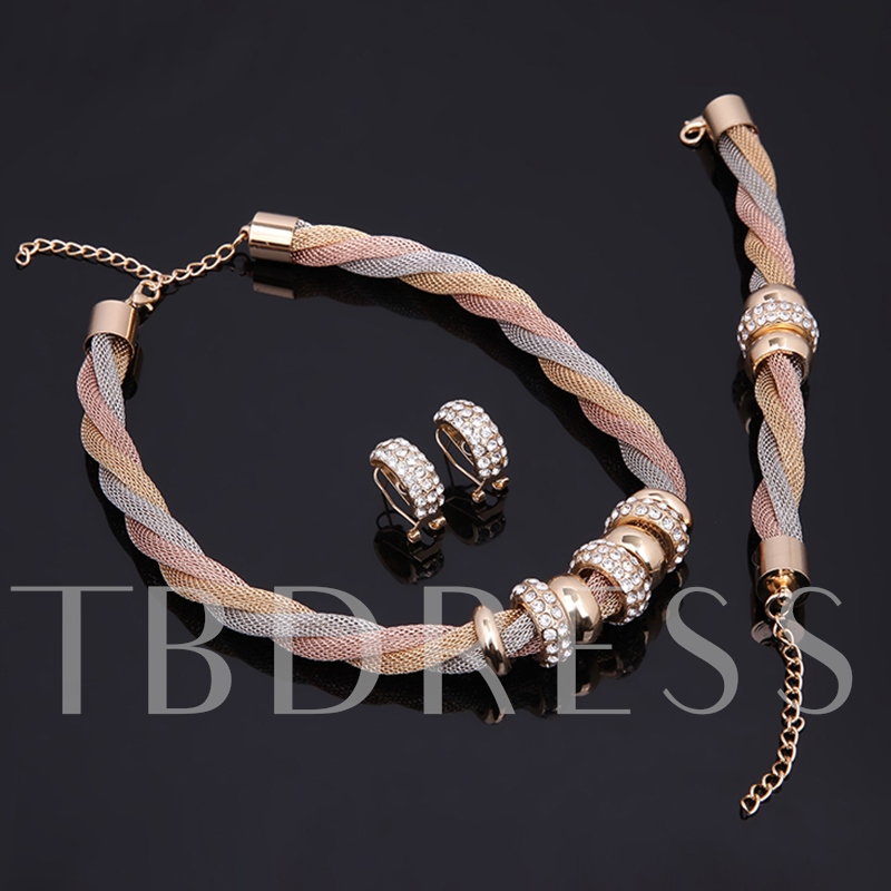 Diamante Colorful Chain Necklace Circle Jewelry Sets