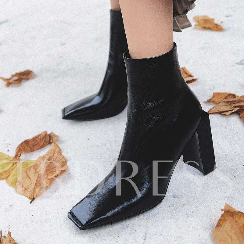 Chunky Heel Square Toe Plain Cowhell Side Zipper Women's Ankle Shoes
