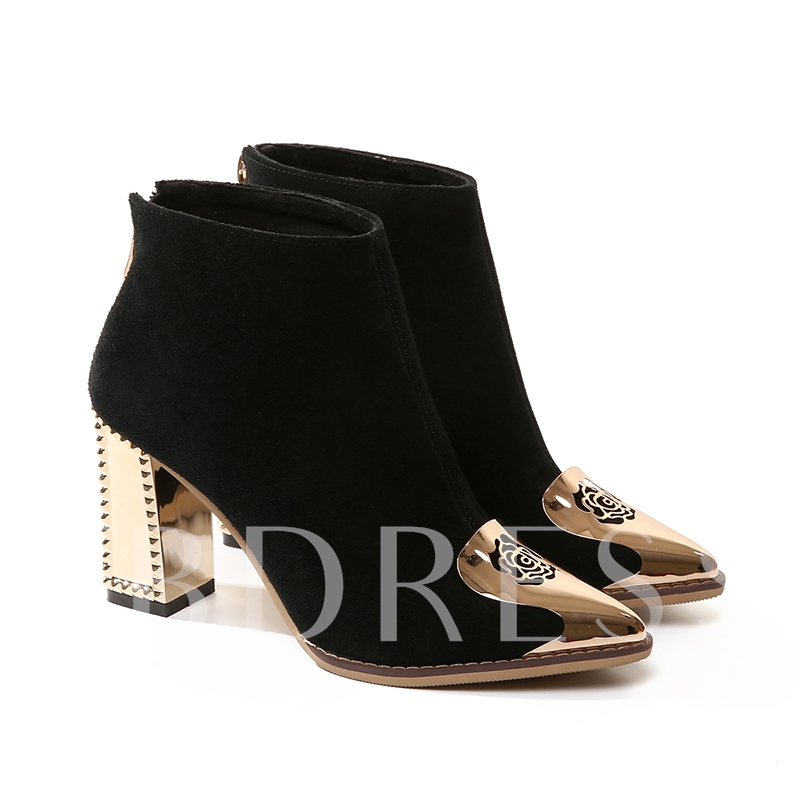 Floral Patchwork Hollow Sequins Chunky Heel Back Zip Women's Black Ankle Boots