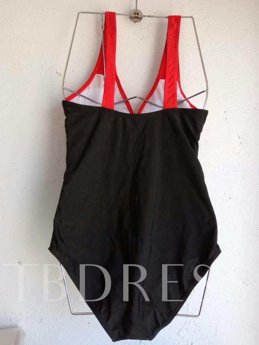 Elegant Color Block Pleated One Piece Swimsuit