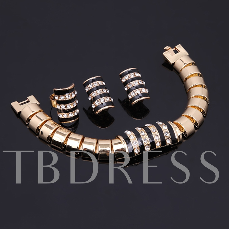 Simple Bamboo Chain Alloy Diamante European Jewelry Sets