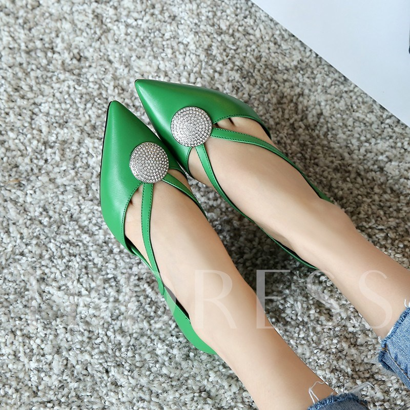 Kelly Green Pumps Rhinestone Sequins Thread Slip-On Women's Shoes