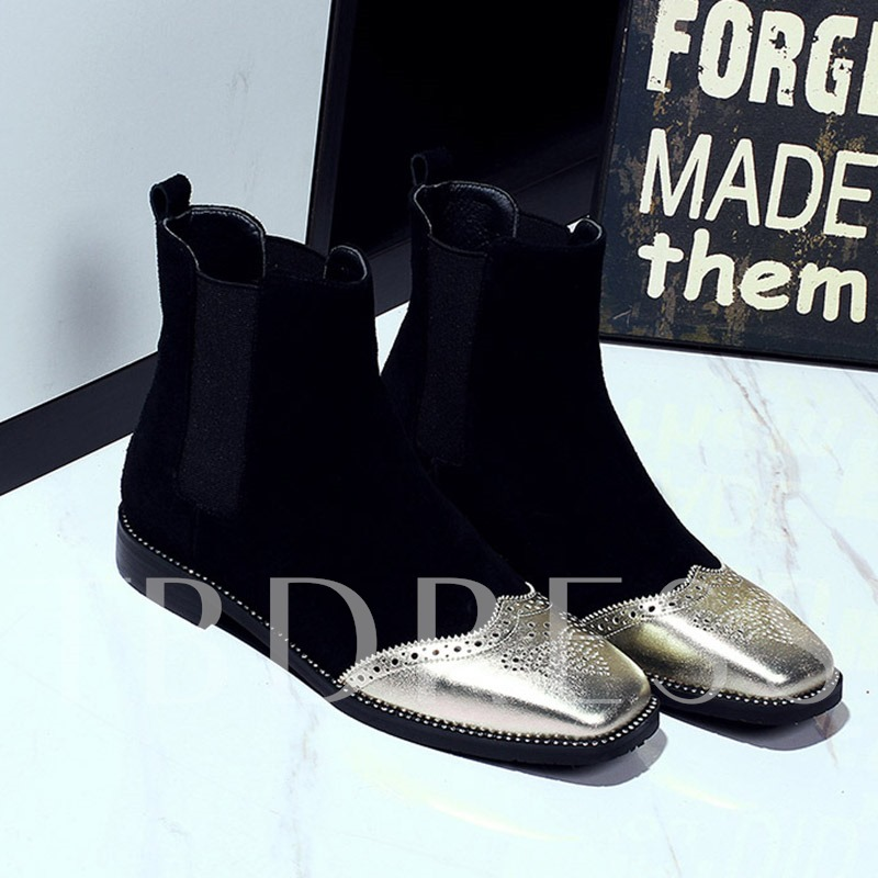 Square Toe Patchwork Color Block Women's Fashion Ankle Boots