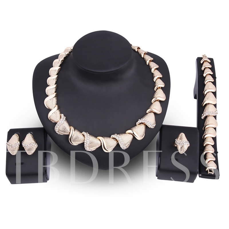 Shell Shaped Diamante Rhombus Link Chain Jewelry Sets