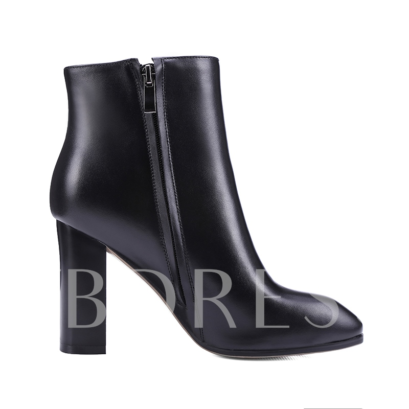Square Toe Chunky Heel Side Zipper Women's Boots