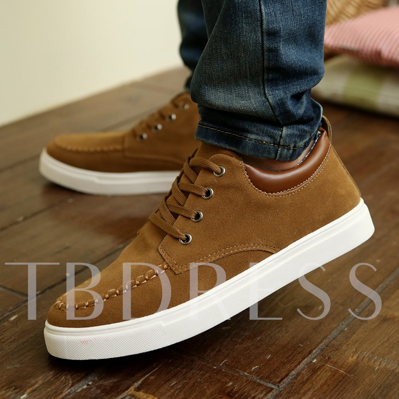 Suede Color Block Patchwork Round Toe Men's Skater Shoes