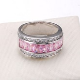 Pink Zircon Inlaid Copper Luxurious Ring