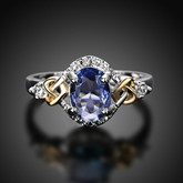 Colorful Glass Tone Silver Plated Ring