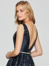 A-Line V-Neck Sequins Sleeveless Short Homecoming Dress