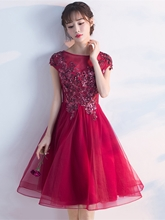 A-Line Cap Sleeves Scoop Sequins Knee-Length Homecoming Dress