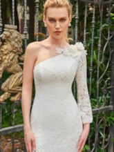 One Shoulder Long Sleeve Lace Mermaid Wedding Dress
