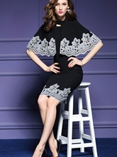 Black Embroidery Two Pieces Women's Sheath Dress