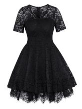 V-Neck High-Waist Hollow Plain Women's Lace Dress