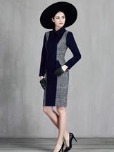 Dark Blue Pockets Women's Long Sleeve Dress