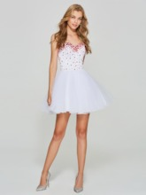 A-Line Sweetheart Beading White Homecoming Dress
