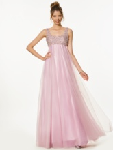 A-Line Empire Straps Beading Floor-Length Prom Dress