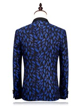 Notched Collar One Button Fashion Bright Printed Slim Men's Dress Suit