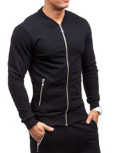Zipper Solid Color Slim Men's Sports Suit