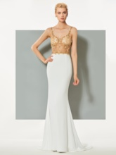 Mermaid Spaghetti Straps Beading Sweep Train Evening Dress