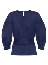 Bow Knot Detail Puff Sleeve Keyhole Women's Blouse