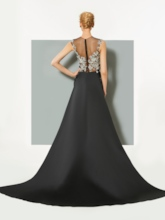 Sheer Neck Sequins Appliques Evening Dress with Train