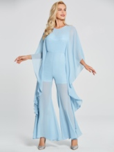 Scoop Neck Long Sleeves Chiffon Evening Jumpsuits