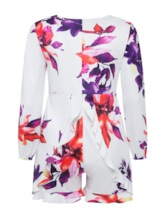 Plus Size Falbala Floral Print Women's Rompers