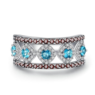 Blue Zircon Hollow Out Silver Plated Ring