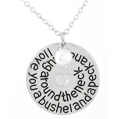 Alloy Link Chain Lettering Pearl Heart Pendant Necklace
