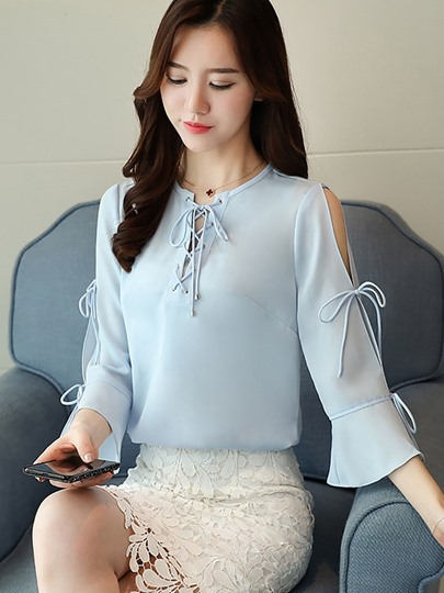 Hollow Lace-up Chiffon Women's Blouse