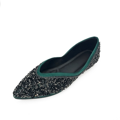 Pointed Toe Glitter Sequins Slip-On Women's Flats Shoes