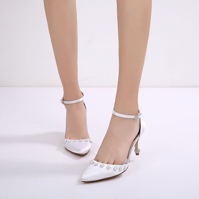 Stiletto Heel Beads Rhinestone Buckle Women's Shoes For Wedding