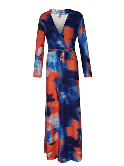 V Neck Gradient Print Women's Maxi Dress