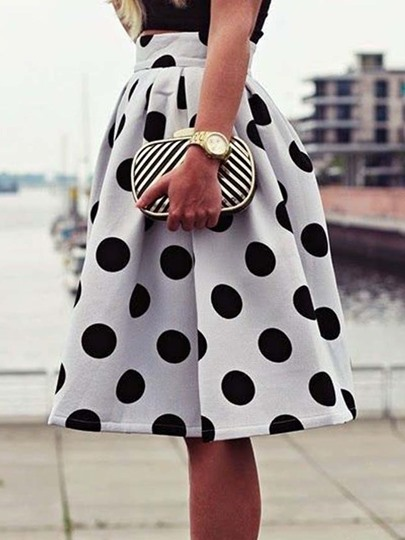 Pleated High-Waist Polka Dots Women's Skirt