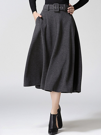 Plain Mid-Calf Belt Women's Skirt