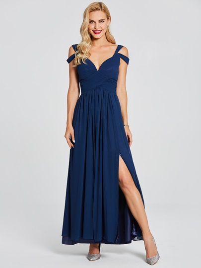 Open Shoulder A-Line Pleats Split-Front Long Evening Dress