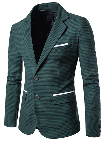 Lapel Single-Breasted Contrast Color Pocket Casual Men's Blazer