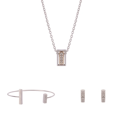 Rectangle Hollow Out Diamante Silver Plated Jewelry Sets