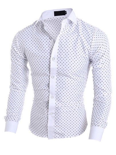 Lapel Polka Dot Print Slim Men's Dress Shirt