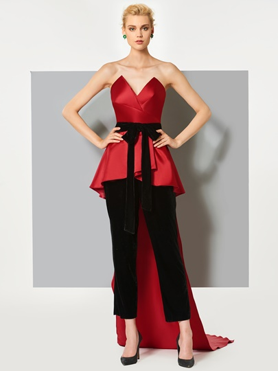 Sheath Bowknot Sashes Sweetheart Evening Jumpsuits