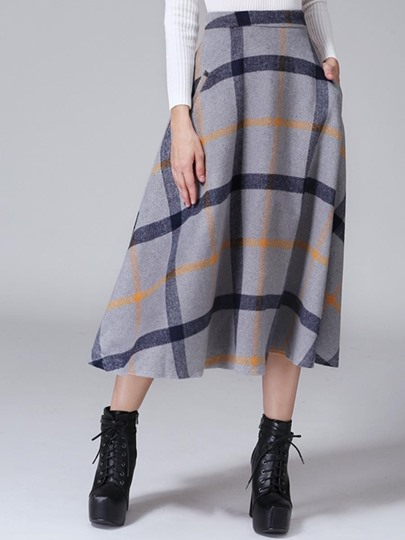 Plaid Printing Pleated Pocket Women's Skirt