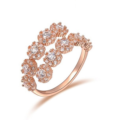 Opening Zircon Inlaid Rose Gold Ring