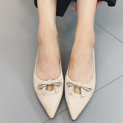 Pointed Toe Block Heel Bow Rhinestone Slip-On Women's Flats