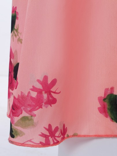 Vacation Pink Sleeveless Floral Printed Women's Maxi Dress