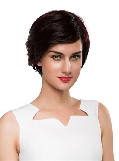 Short Side Part Wavy Human Hair Capless Wig 10 Inches