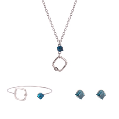 Simple Square Hollow Out Synthetic Stones Jewelry Sets