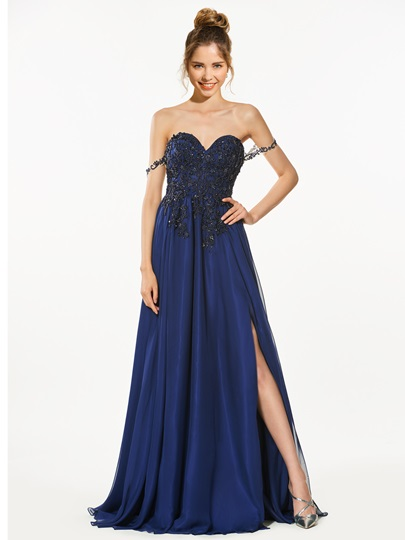 Sweetheart Appliques Beading Split-Front Prom Dress