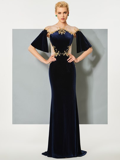 Jewel Button Velvet Beading Trumpet Sweep Train Evening Dress