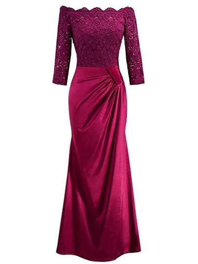 Slash Neck Lace Sleeve Women's Maxi Dress