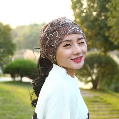 Gauzy Flower Lace Korean Style Skullies Hats